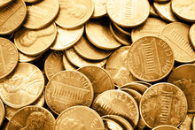 Many Shiny USA One Cent Coins As Background