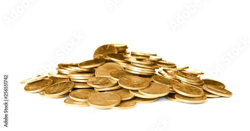 Fotografie, Obraz  Pile of shiny USA coins on white background