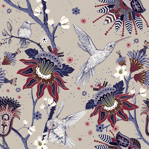 Jacobean seamless pattern Tablou Canvas