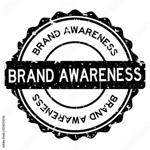 Grunge black brand awareness word round rubber seal stamp on white background Canvas Print