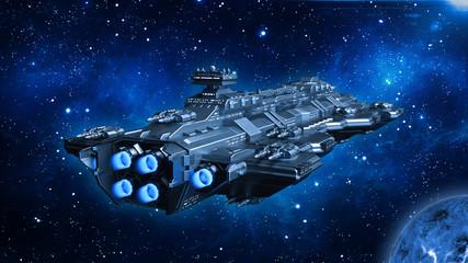 Spaceship traveling in deep space, alien UFO spacecraft flying in the Univers...