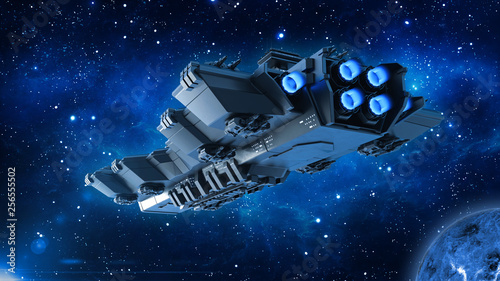 Photo  Spaceship traveling in deep space, alien UFO spacecraft flying in the Universe w