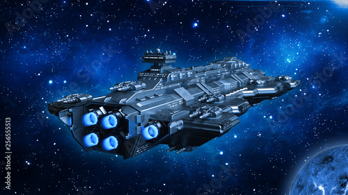 Spaceship traveling in deep space, alien UFO spacecraft flying in the Universe w Wallpaper Mural