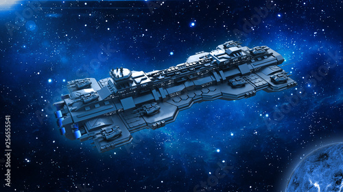 Obraz Spaceship traveling in deep space, alien UFO spacecraft flying in the Universe with planet and stars, top view, 3D rendering - fototapety do salonu