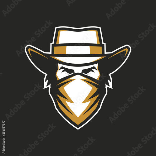 dfd0bedeccbb79 Male head in cowboy hat and bandana - Buy this stock vector and ...
