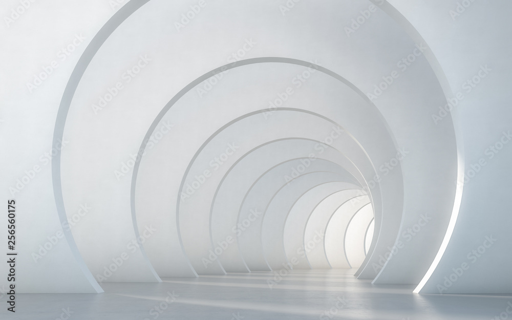 Fototapety, obrazy: Abstract illuminated empty white corridor interior design. 3D rendering.