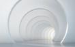 Leinwanddruck Bild - Abstract illuminated empty white corridor interior design. 3D rendering.