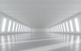 Fototapeta Do przedpokoju - Abstract empty illuminated corridor interior design. 3D rendering.