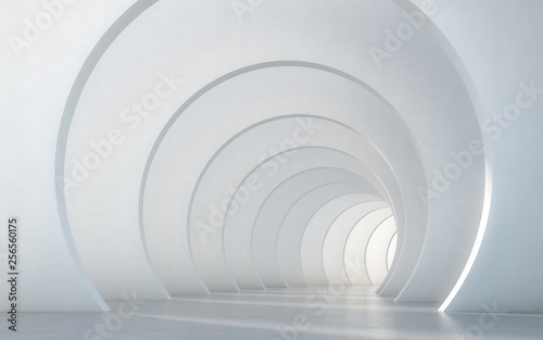 Abstract illuminated empty white corridor interior design. 3D rendering.