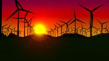 Front View Of A Set Of Turbines Forming A Wind Farm At Sunset With The Sun In The Background And The Red Sky. 3D Illustration