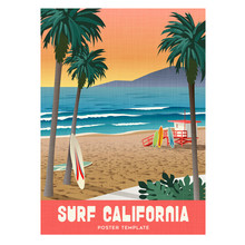 California Surfing Travel Poster With Sunset And Palm Trees. Vector Illustration.