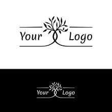 Interwoven Trees, Symmetrical Logo On A Natural Theme