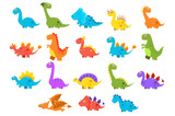 Fototapeta Dinusie - Dinosaurs set, variety species of brightly colored dino vector Illustrations on a white background