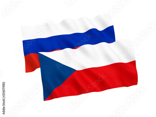 Photo  Flags of Russia and Czech Republic on a white background