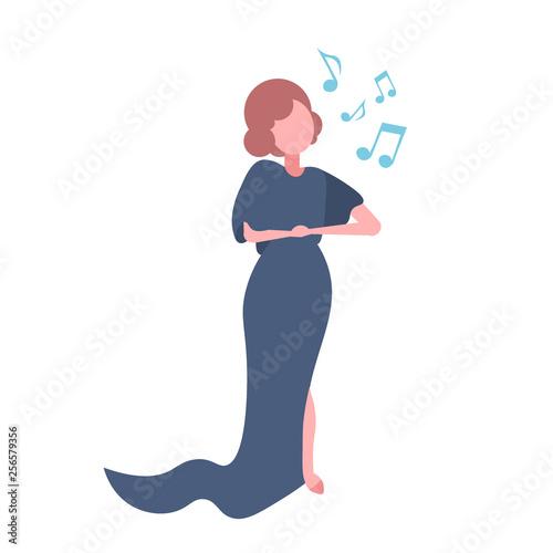 elegant woman opera singer in blue dress singing karaoke songs concert and music Canvas-taulu