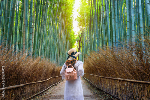 Poster Bambou Woman walking at Bamboo Forest in Kyoto, Japan.