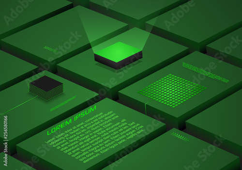 Fotografiet  Abstract block background with artificial intelligence, robotic quantum computing processor in green color