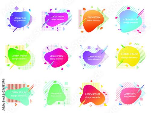 7a9071b1e9451 12 Modern liquid abstract element shape gradient memphis style design fluid  vector colorful illustration banner set