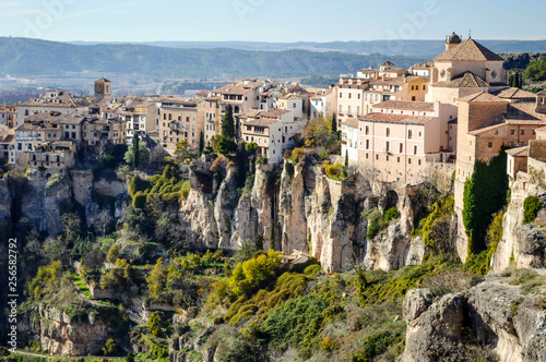 View of the medieval city of Cuenca, located on the cliffs in Spain.