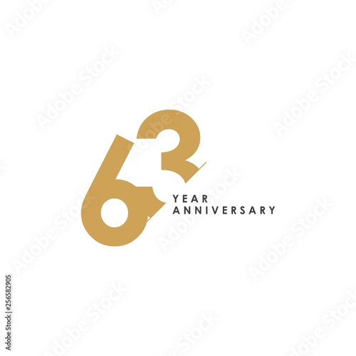 Ταπετσαρία τοιχογραφία  63 Year Anniversary Vector Template Design Illustration