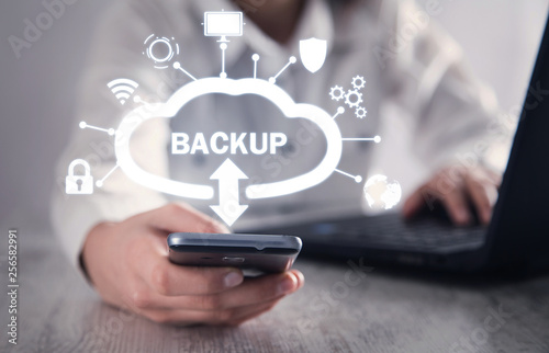 Photo  Data Backup. Cloud Download. Internet, Technology