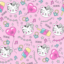 Cute Tiger Pattern On A Pink Background. Colorful Trendy Seamless Pattern. Fashion Illustration Drawing In Modern Style For Clothes. Drawing For Kids Clothes, T-shirts, Fabrics Or Packaging.