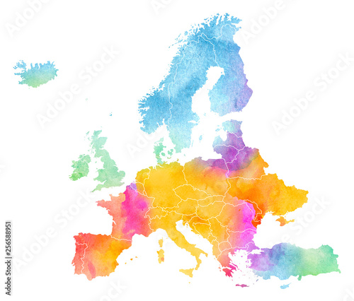 Photo Multicolor Watercolor Centra Europe Map on white Background, Side View