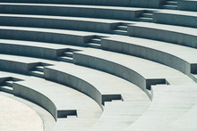 Minimalism Seats And Stairs Of Modern Amphitheater Made Of Marble