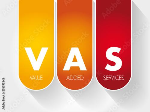 VAS - Value Added Services acronym, business concept Fototapeta
