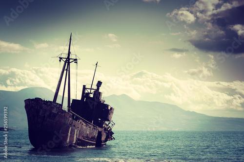Poster Naufrage The famous shipwreck near Gythio Greece