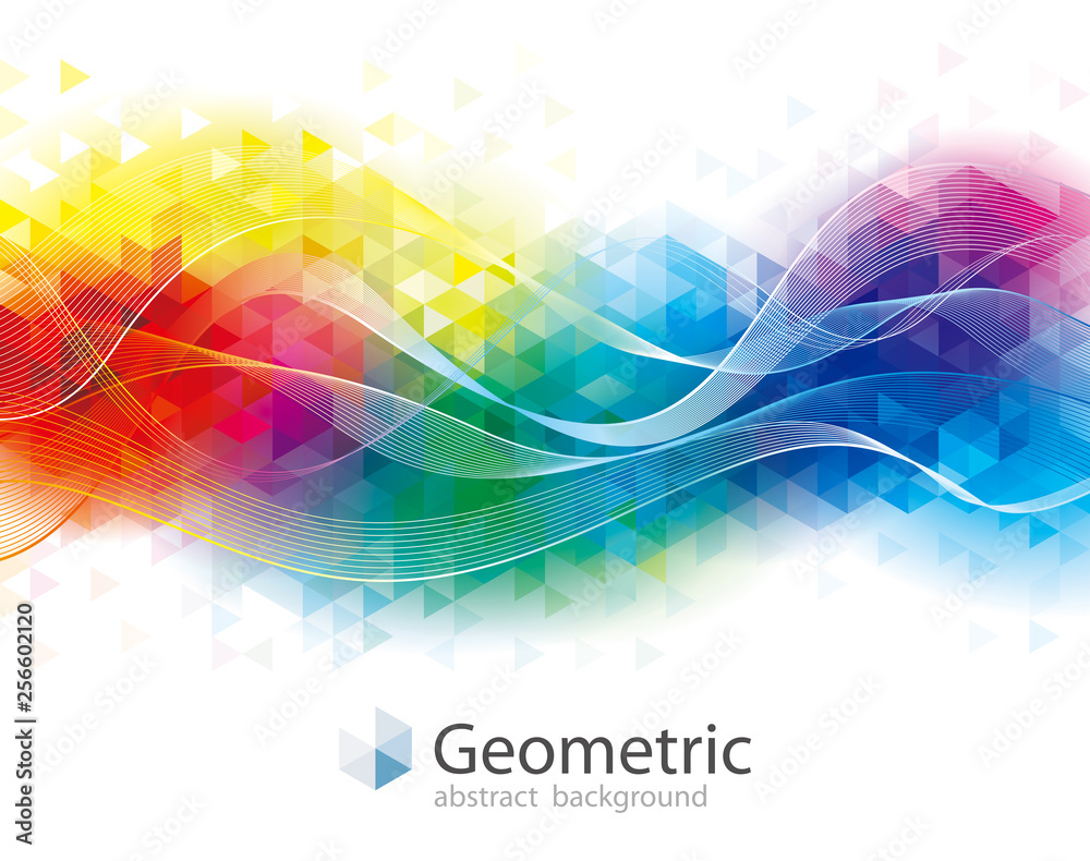 Fototapeta Colorful geometric and wave abstract modern background.