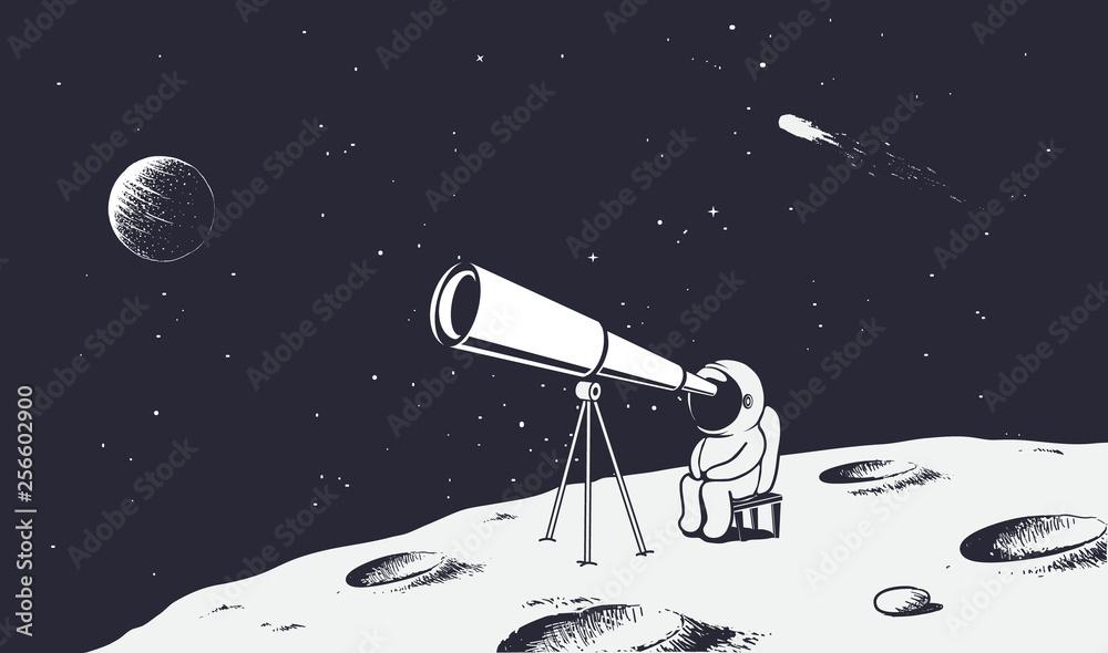 Fototapety, obrazy: astronaut looks through the telescope to universe