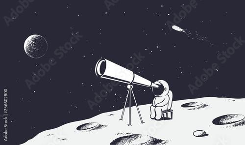 Fotografía astronaut looks through the telescope to universe