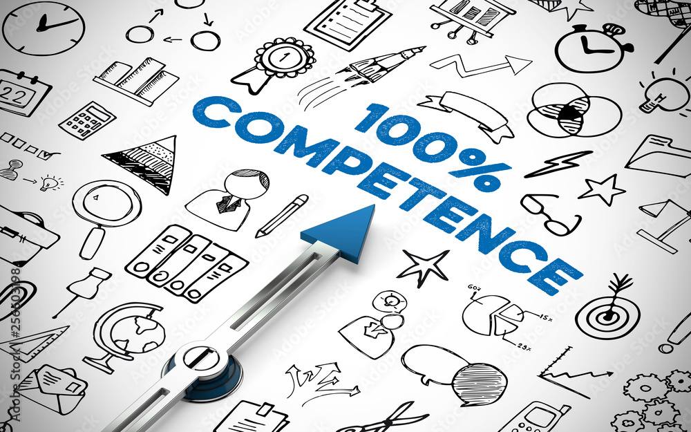 Fototapety, obrazy: Competence concept with compass and lettering