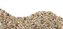 Ground Stones Border Isolated On White Background. Curved Border Of Pebble Stones.