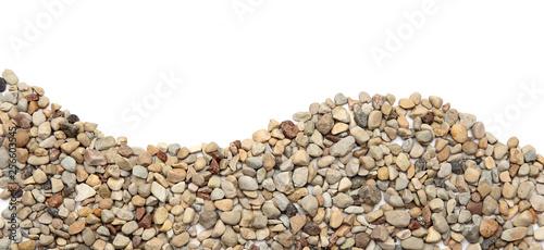 Fotografía Ground stones border isolated on white background