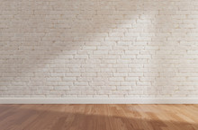 White Brick Wall And Wooden Floor, Mock Up,copy Space,3d Rendering