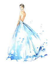 Young Woman Wearing Long Evening Dress, Bride. Watercolor Illustration