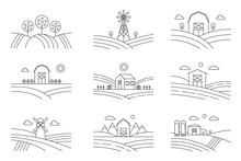Set Of Different Line Eco Farm Landscapes Isolated On White Background. Rural Landscape With Windmill, Silage Tower, Trees. Linear Style Vector Illustration.