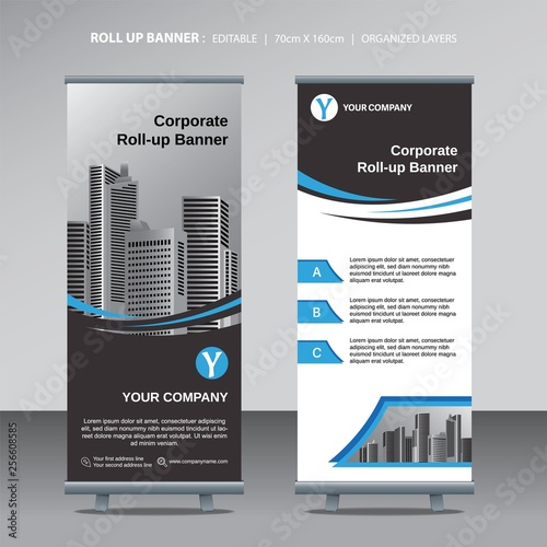 modern business roll up design template with city background Canvas Print