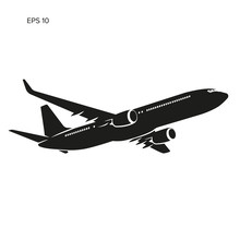 Modern Twin Engine Jet Airliner Vector Illustration Icon.