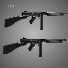 Vintage Retro American Sub-machine Gun Vector Illustration. Old Famous Gangster Armament.