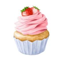 Hand Drawn Strawberry Cupcake ...