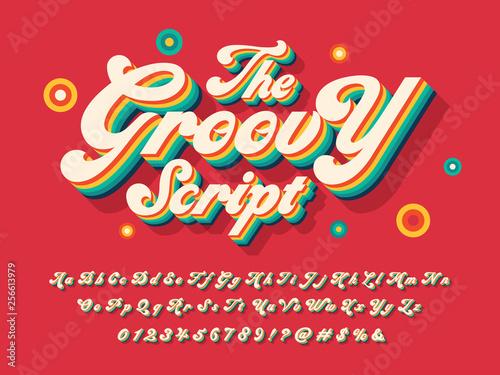 A groovy hippie style alphabet design Tablou Canvas