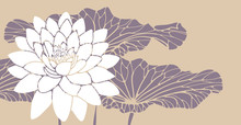 Lotus Flower With Leaves Card In Retro Ivory Purple Shades
