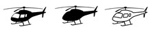 Helicopter Simple Black Silhouette. Isolated Copter Icon Vector Illustration On White Background