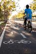 ิbike lane with bike user