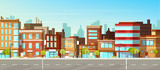 Fototapeta Miasto - Modern town street panoramic flat vector. Low-rise houses with brick walls, blank signboards on storefronts, public buildings, sidewalk and road illustration. City commercial real estate background