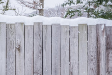 Wooden Wall With Snow Top