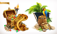 Treasure Hunt And Adventure. Game Logo 3d Vector Icon Set